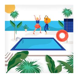 20 Servetten   Dance Pool   33x33cm