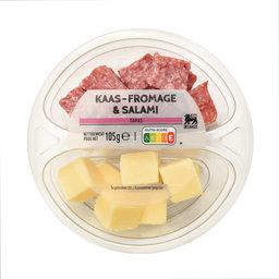 Portie gemengd | Kaasblokjes en salami blokjes