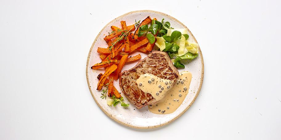 Chateaubriand, express-saus van groene peper en butternutfrietjes