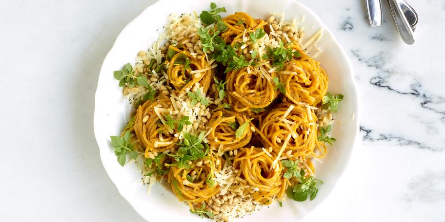 Spaghettis à la crème de potimarron au chèvre