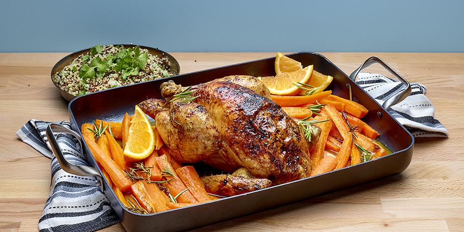 Poulet rôti aux carottes, à l'orange et au miel