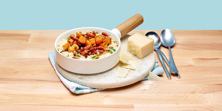 Makkelijke risotto met spek en butternut Plat National