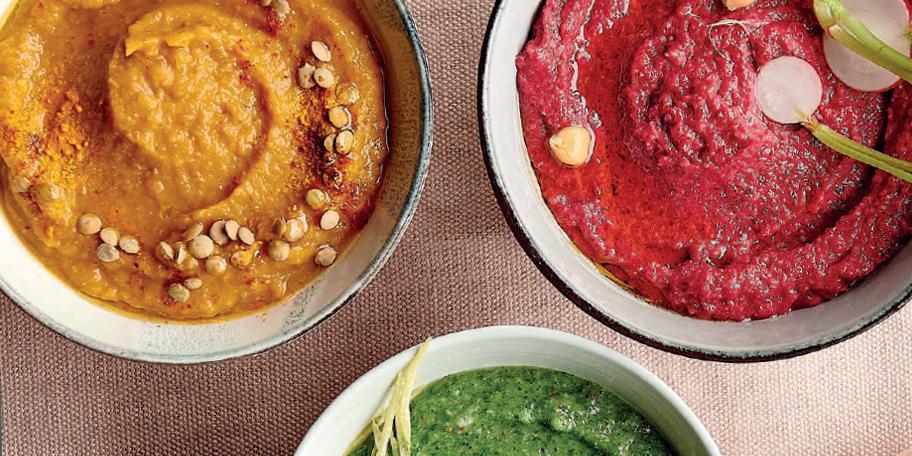 Trio van dips: Dip met witte bonen, spinazie, citroen en komijn