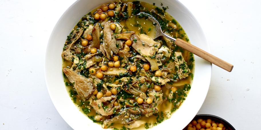 Soupe repas au poulet et aux pleurotte