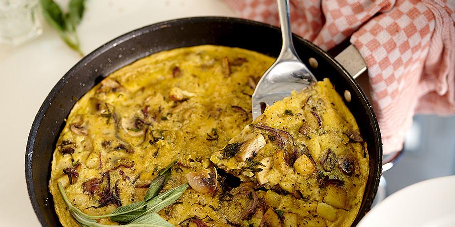 Frittata met champignons en salie
